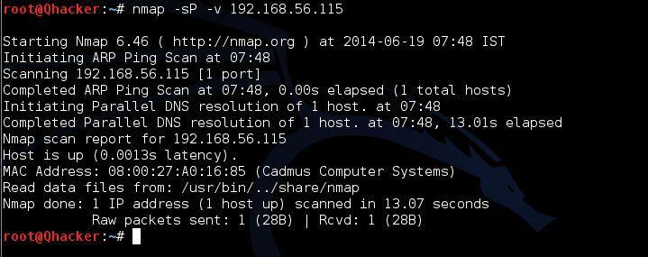 nmap -sP FIN Scan