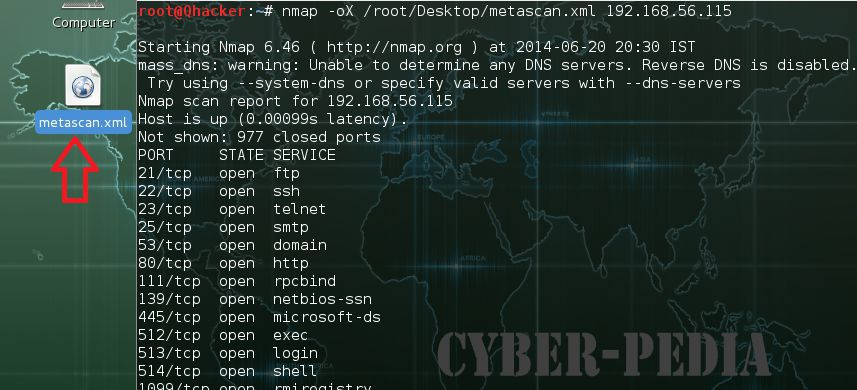 -oX Extensible Markup Language (XML) Output in Nmap