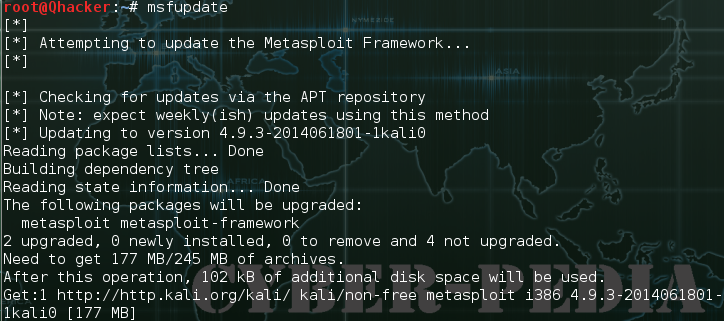 update metasploit by using command line