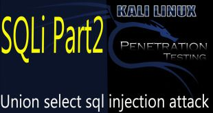 Union select sql injection attack | sql injection test 2