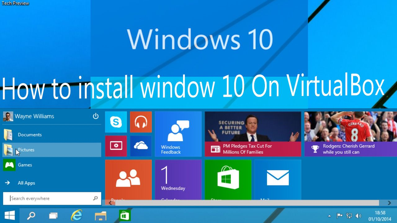 How to install window 10 in VirtualBox