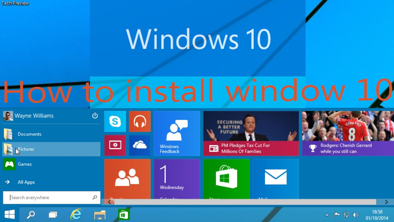 How to install window 10 Technical Preview