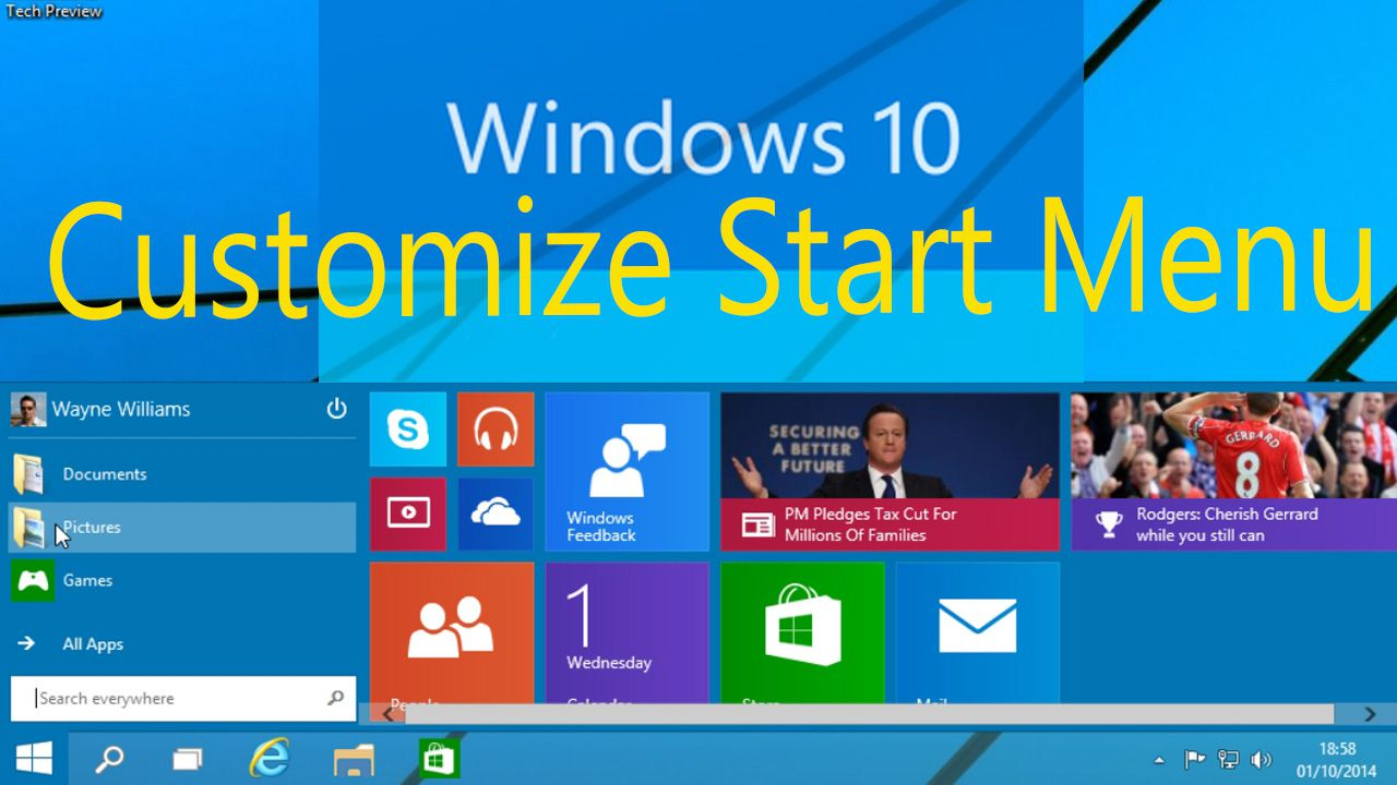 How to Customize Start Menu on Window 10