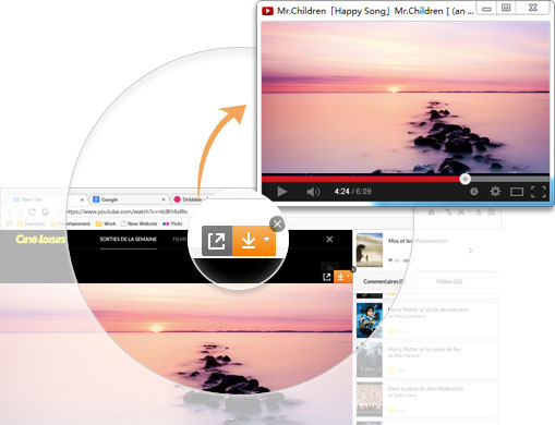Video pop-up player in baidu Browser