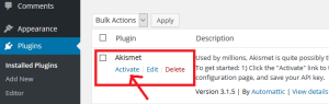 click on activate akismet