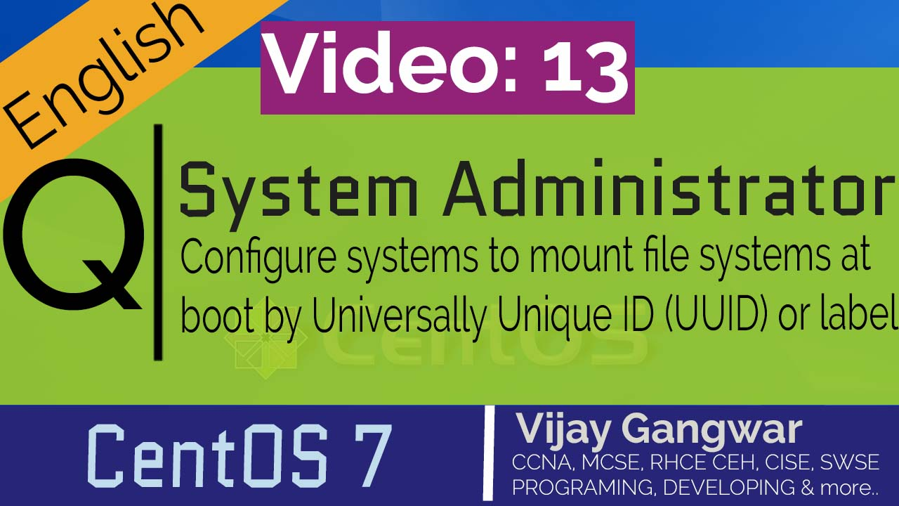 Configure systems to mount file systems at boot by Universally Unique ID (UUID) or label