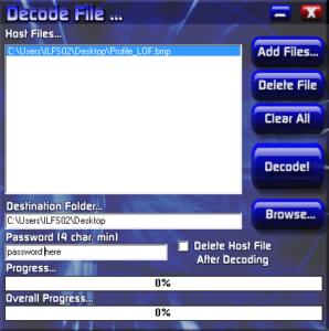 Steganofile tool for windows