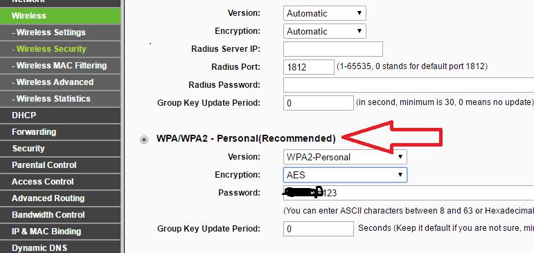Enable WPA/WPA2 Personal