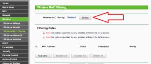 Enable Wireless MAC filtering