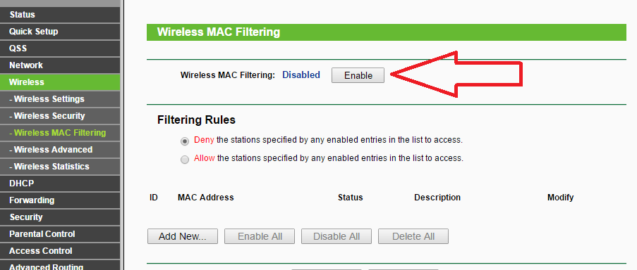 Enable Wireless MAC filtering
