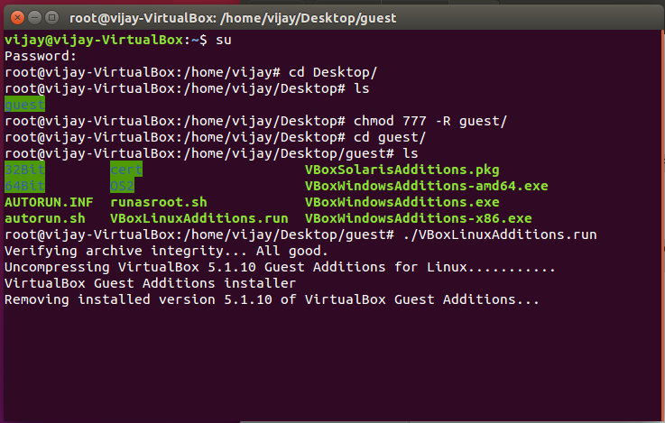 Commands to install virtualbox guest additions on Ubuntu