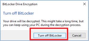 turn off bitlocker