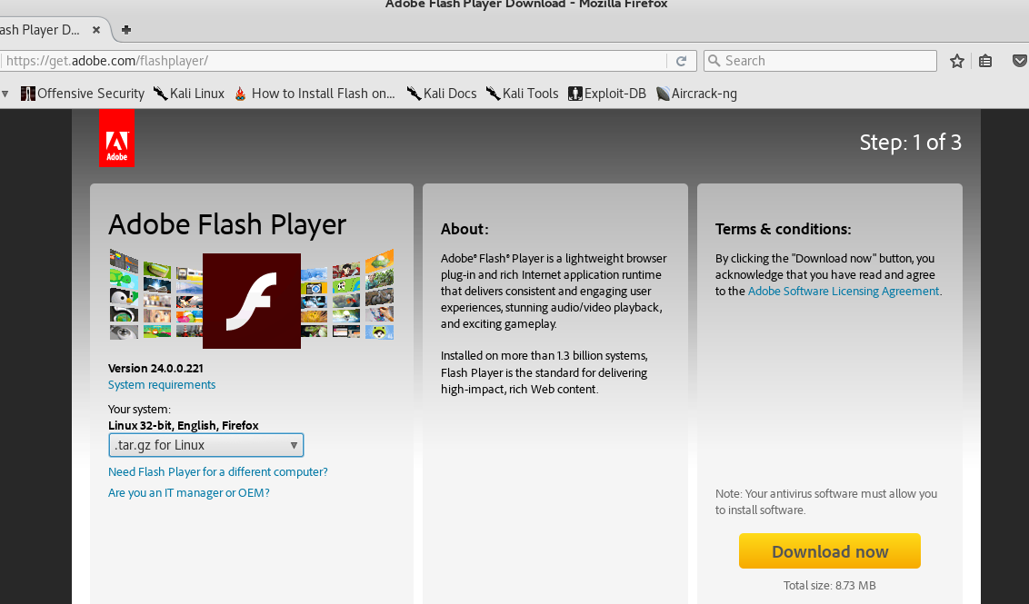 How to Install Flash Player Kali Linux Firefox