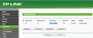 entry of ssh port forwarding