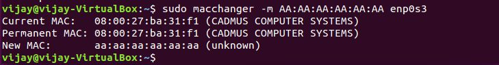 change the mac address