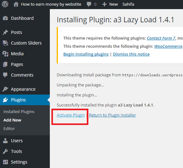 activate new plugin