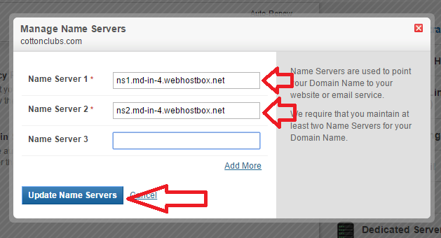 Update dns nameserver detail