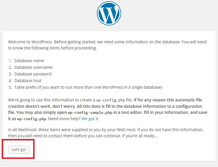 install wordpress step 4 lets go