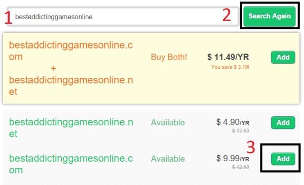search domain on bigrock