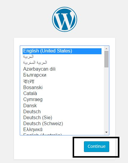 Install wordpress select language and go