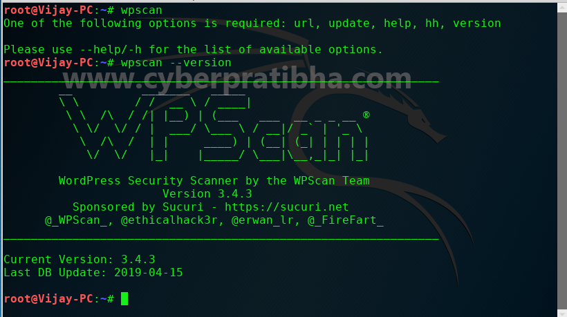 wpscan check versioin