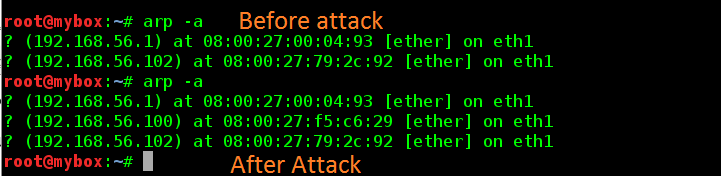 arp table on Attacker