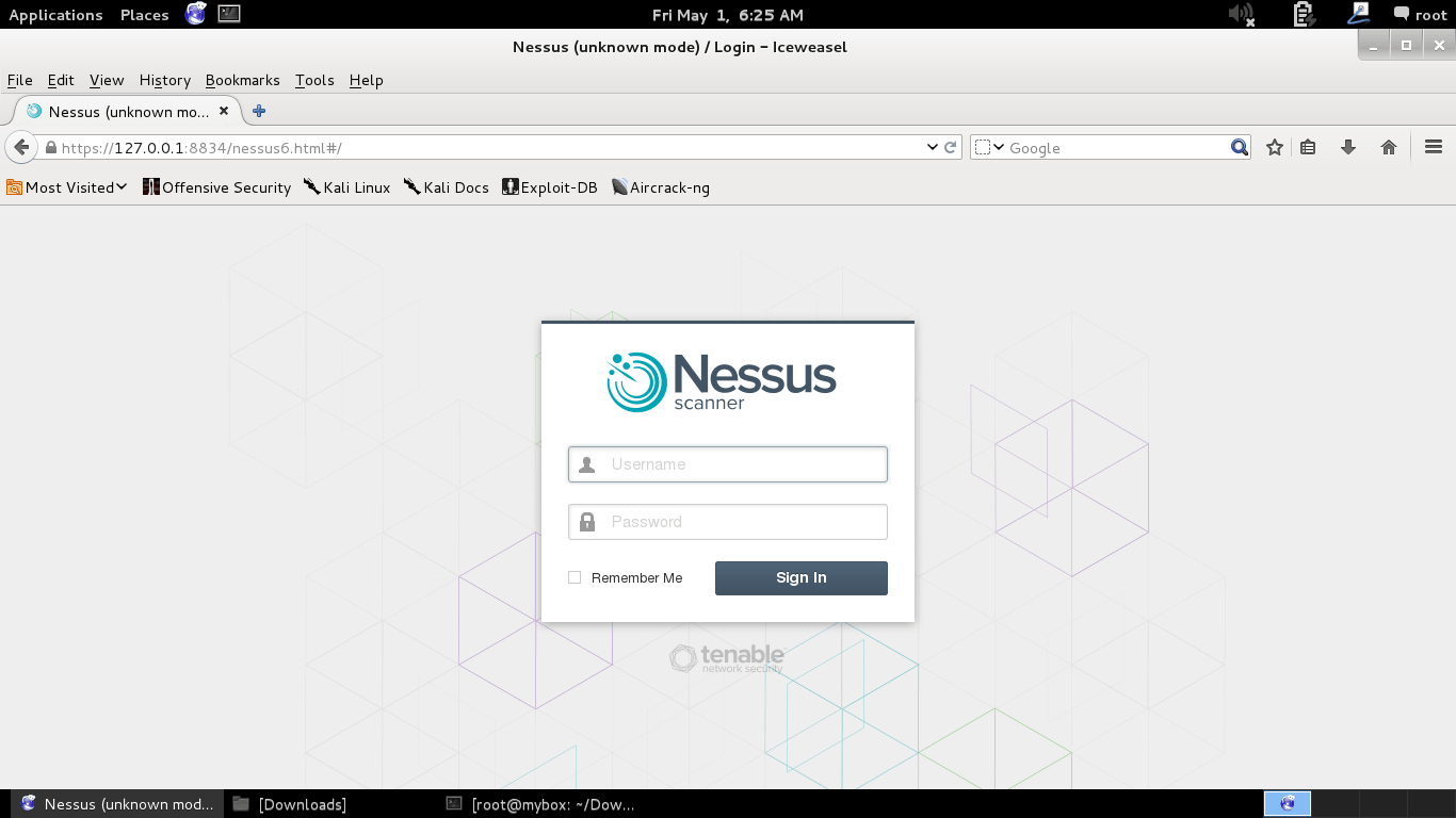 access nessus web interface