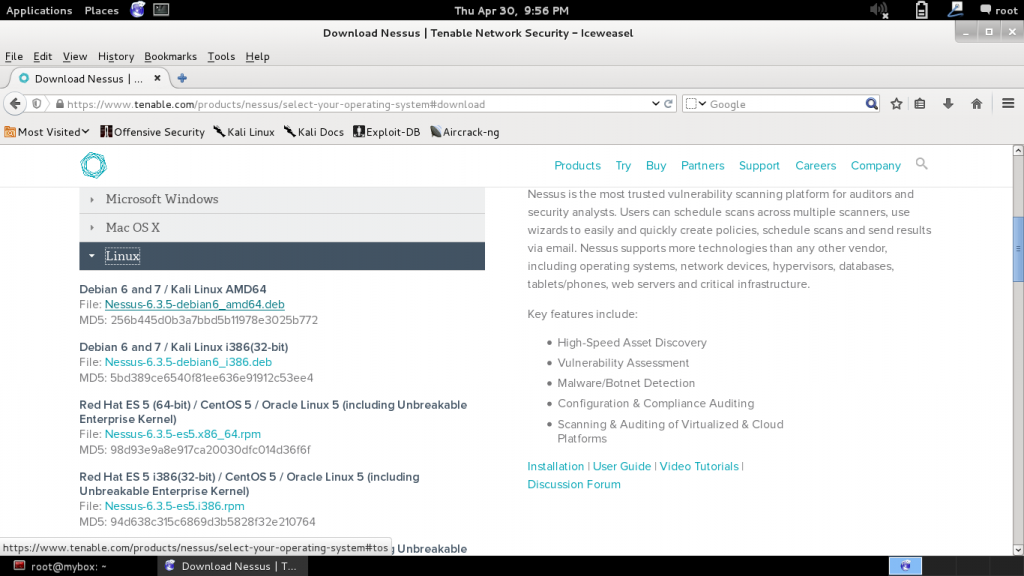 download nessus for kali linux