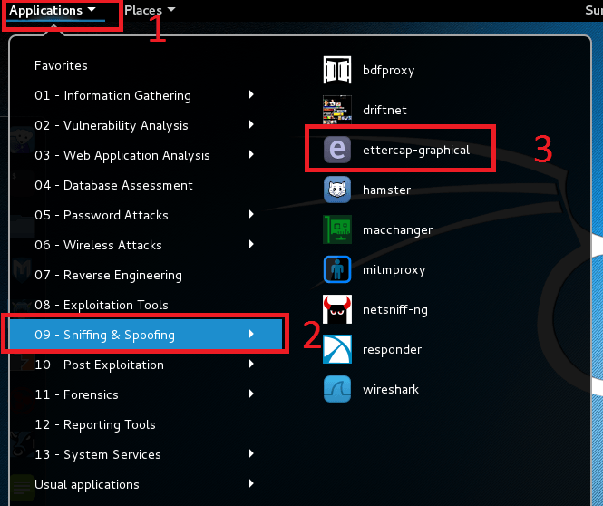 run ettercap on Kali Linux