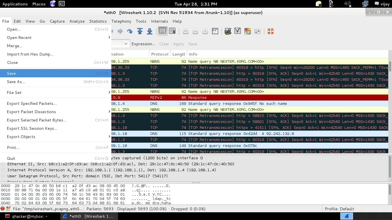 Using Wireshark filter ip address and port in Kali Linux