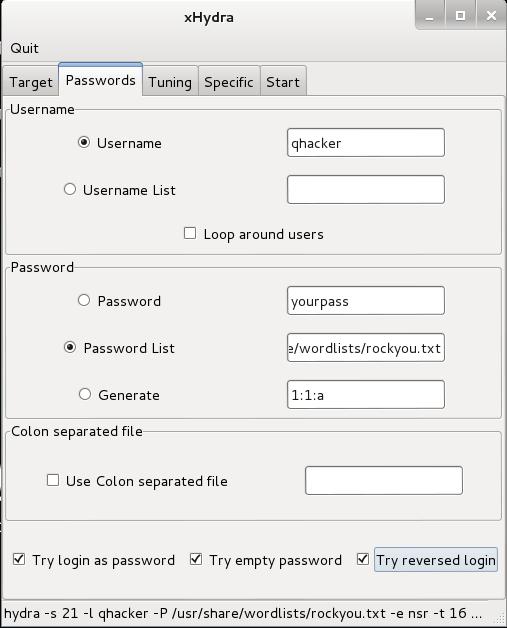 configure passwords tab