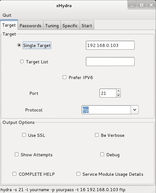 configure target tab
