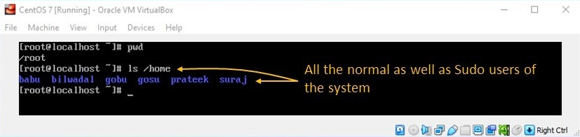 adduser Command in Linux - View List of Home Directory